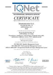 Certificato IQ NET iso 9001-14001-18001 per Strumentecnica Srl